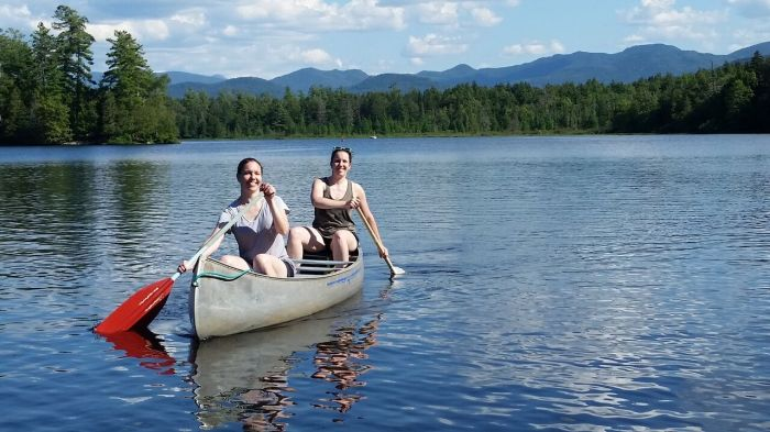 canoeing in the Adirondack mountains